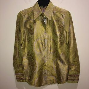 Robert Graham Women's Sz Small Green Blouse